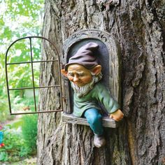 This bearded gnome tree face looks like he is stepping out from the tree. Add character to any tree or fence. Yard Art Crafts, Garden Crafts, Garden Projects, Garden Art, Garden Ideas, Fairy Tree Houses, Fairy Garden Houses, Fairies Garden, Fairy Gardens