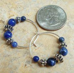sodalite artisan jewelry | sodalite bali sterling silver hoop earrings 1 sodalite bali sterling ...