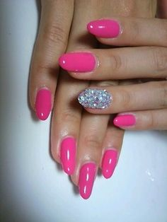 gorgeous pink oval nails with glitter accent nail