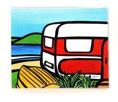 Sarah C Art Block : Caravan and Dinghy Sarah C, New Zealand Art, Nz Art, Dinghy, Caravans, Calendar, Art Prints, Artist, Gifts