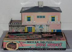 Vintage Tin Litho Superior 767 Dollhouse w Furniture People Box Paperwork RARE | eBay