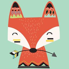 Tribal Fox Print - Nursery Prints - Kids Room Wall Art - Print - Print - Boys Bedroom Wall Art Decor Prints- Be Brave Print Tribal Fox, Tribal Animals, Arte Tribal, Nursery Prints, Nursery Art, Cute Drawings, Animal Drawings, Scrapbooking Image, Fox Drawing