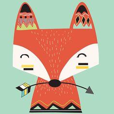 Tribal Fox Print - Nursery Prints - Kids Room Wall Art - Print - Print - Boys Bedroom Wall Art Decor Prints- Be Brave Print Tribal Fox, Tribal Animals, Arte Tribal, Kids Room Wall Art, Nursery Wall Art, Scrapbooking Image, Fox Drawing, Fox Cartoon Drawing, Art Fox
