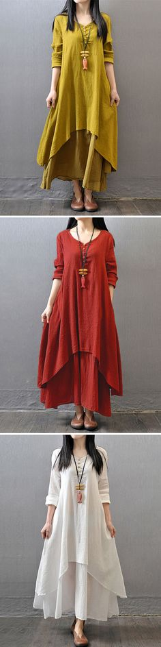 Gracila Vintage Women Long Sleeve V Neck Irregular Maxi Dress