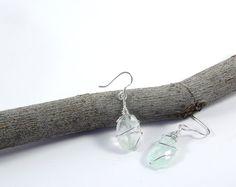 Orecchini con acquamarina e filo d'argento. Orecchini wire wrapped da donna. By RamixBijoux #italiasmartteam #etsy