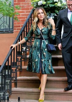 Carrie would be proud!The actress, 51, looked effortlessly elegant in an emerald silk number with semi-sheer detailing and an eye-catching leaf pattern