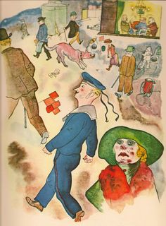 George Grosz: Passanten / (Duckers Offset color lithograph after a watercolor for Ecce Homo, 1922 Max Beckmann, Art And Illustration, George Grosz, Expressionist Artists, Art Students League, Art For Art Sake, Picture Design, Caricature, New Art