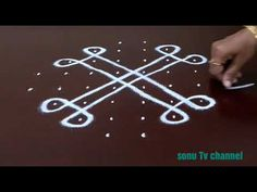 Simple Flowers kolam designs with 18-4-4 Straight| chukkala muggulu with dots| rangoli design - YouTube