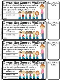 Free: Secret Walker Certificates for Managing A Line of Students. Cute idea - could adapt to classroom theme. Kindergarten Classroom Management, Classroom Organisation, 2nd Grade Classroom, School Counseling, Future Classroom, School Classroom, School Fun, Preschool Behavior Management, Classroom Ideas