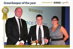 """January - Congratulations to Vince Gilroy our Head greenkeeper who has won the """"Proshop Europe Awards 2012 Green Keeper of the year"""". Our sincere congratulations to Vince and his team. Here you can see Vince pictured with Guest speaker, Rugby World Cup winner Ben Kay"""