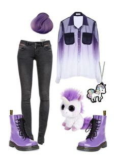 dr martens, fashion, gothic, grunge, grunge fashion, indie, love, outfit, pale, pastel goth, pen, polyvore, purple, purple hair, sadnes, shoes, style, swag, unicorn, jesseas, draknes