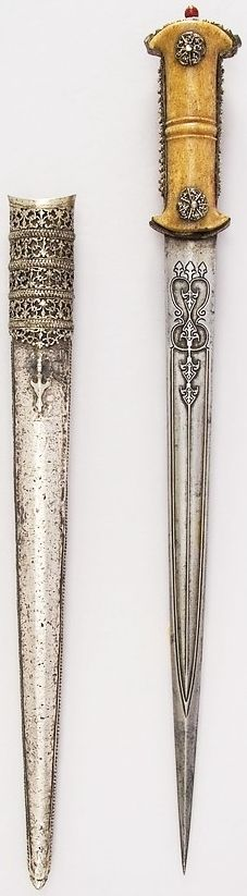 Ottoman dagger, 18th to 19th century, steel, ivory, silver, wood, possibly coral, L. of blade 14 1/2 in. (36.8 cm) L. with sheath 20 11/16 in. (52.5 cm); L. without sheath 19 1/2 in. (49.5 cm); W. 2 3/16 in. (5.6 cm); Wt. 14.1 oz. (399.7 g); Wt. of sheath 6.9 oz. (195.6 g), Met Museum, Bequest of George C. Stone, 1935.