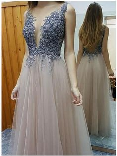 Custom Made Cute Prom Dresses For Teens Cute Round Neck Tulle Long Prom Dress For Teens, Tulle Evening Dresses Prom Dresses For Teens, Long Prom Gowns, Beaded Prom Dress, Prom Dresses 2017, Backless Prom Dresses, A Line Prom Dresses, Cheap Prom Dresses, Sexy Dresses, Formal Dresses