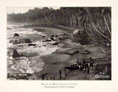 Mount Lavinia beach, Ceylon as it was seen in 1902 in a photograph taken by Platé