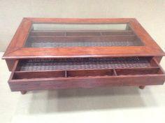 Sofabord, andet materiale, b: 80 l: 140 h: 50, Sofabord med glasplade og skuffe under