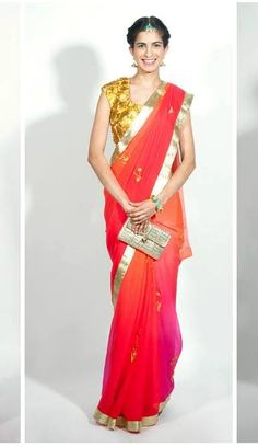 gorgeous ombre, silver & gold saree and blouse, via @Anamik Pg