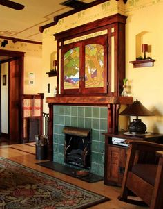 The owner's preference for Asian architecture led him to Greene & Greene and inspired the living room. Decor, Craftsman Fireplace, Craftsman Interior, House Styles, Home Crafts, Bungalow Style, Art And Craft Design, Home Art, Arts And Crafts House