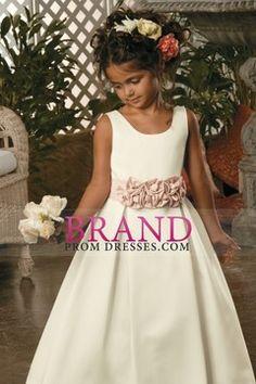 Flower Girl Dresses A Line Straps Floor Length Satin USD 94.99 BPP4QQ5C6T - BrandPromDresses.com for mobile