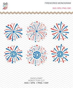 Fireworks 4th July independence day Patriotic Monogram Frames DXF SVG PNG eps for Cricut Design, Silhouette studio, Makes the Cut by SvgCutArt on Etsy