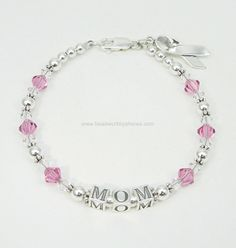 Personalized Sterling Silver Breast Cancer Awareness Bracelet for Christmas?  $69.00 including Sterling Silver Charm.