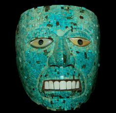 Aztec Art 1/2: An Aztec skull made of turquoise mosaic pieces ...