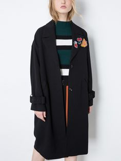 Black Patched Detail Belted Longline Coat   Irisie