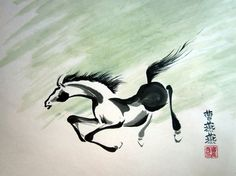 Downhill Run giclee print of brush painted horse by Tracie Griffith Tso of Reston, Va. Animal Symbolism, Year Of The Horse, Chinese Painting, Rice Paper, Silk Painting, Giclee Print, Fashion Art, Horses, Art Styles