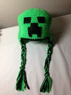 Crochet Minecraft creeper inspired earflap by CrochetbyDestinee, $26.00