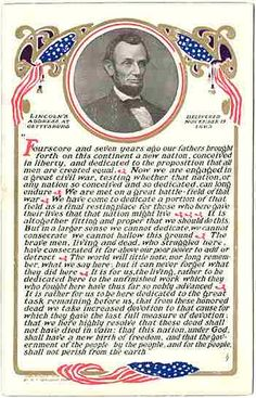 Abraham Lincoln Gettsyburg Address 1908 postcard by M. Abraham Lincoln Gettysburg Address, Abraham Lincoln Family, American Presidents, American Civil War, American History, Presidential History, I Love America, Civil War Photos, Founding Fathers
