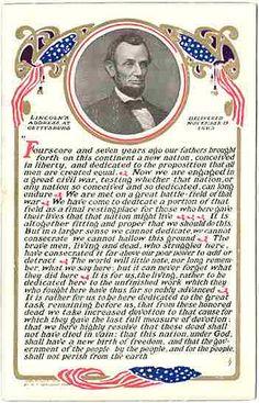 Abraham Lincoln Gettsyburg Address 1908 postcard by M. Abraham Lincoln Gettysburg Address, Abraham Lincoln Family, American Presidents, American Civil War, American History, Presidential History, I Love America, Civil War Photos, Us History