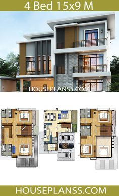 House Plans Idea with 4 Bedrooms - House Plans Sam Simple House Design, House Front Design, Architectural Section, Architectural Salvage, Three Bedroom House Plan, Modern Office Design, House Prices, Floor Plans, How To Plan