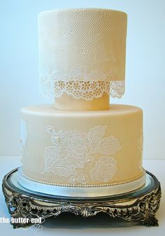 Edible lace wedding cake on antique makeup tray by The Butter End Cakery, Santa Monica