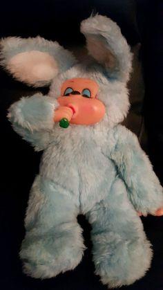 "1971 RUSS VINTAGE PLUSH 12""  BUNNY VINYL FACE BON BON CARROT SUCK THUMB Blue #RussBerrie"
