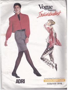 Uncut, factory folded Vogue pattern 2116 copyright 1988 size 6 8 10 sewing pattern to make: Loose Fit Zip Front Jacket Tapered Skirt Pants Vogue Patterns, Sewing Patterns, Vintage Patterns, Vintage Sewing, Retro Vintage, Built In Wardrobe, Couture, Skirt Pants, Casual Chic