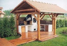zahradní kuchyně - Buscar con Google Pergola Carport, Gazebo, Fire Pit Oven, Parrilla Exterior, Patio Grande, Kitchen Grill, Outdoor Oven, Brick And Wood, Summer Kitchen