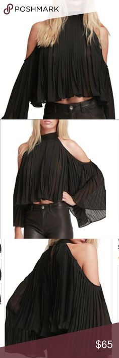 NWT Walter Baker Black Sexy Off The Shoulder Top So Sexy!!! NWT Walter Baker Black Pleated Off The Shoulder Top. Brand new with tags attached. Gorgeous with a pair of jeans or leggings! Walter Baker Tops