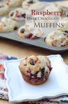 Raspberry Dark Chocolate Muffins ~