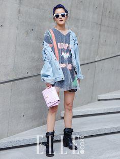 Streetstyle: Hyoni Kang at Seoul Fashion Week by Kim Jin Yong
