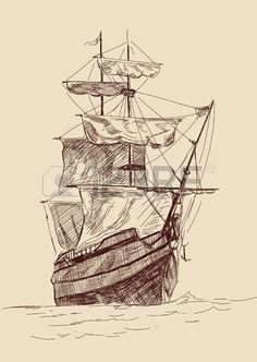 vintage old Ships illustration  Stock Vector