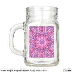 Pink n Purple Mugs and Mason Jar