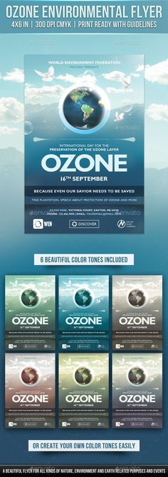Buy Ozone Environmental Flyer by Rewroc on GraphicRiver. Ozone Environmental Flyer By Rewroc InteractiveA clean and beautiful flyer designed for 'International Day for the Pr. Print Design, Logo Design, Graphic Design, Gill Sans, Ozone Layer, Event Flyer Templates, Information Graphics, Business Card Mock Up, Poster On