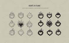 hearts in flame icons set Flame Tattoos, Dope Tattoos, Pretty Tattoos, Mini Tattoos, Tattos, Tattoo Design Drawings, Tattoo Sketches, Tattoo Designs, Dainty Tattoos