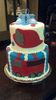 Fire truck-baby shower cake