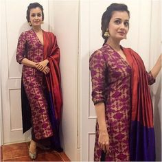 3 Dia Mirza Kurta's Which You Can Make From Old Silk And Brocade Sarees – Fashion in India – Threads Salwar Designs, Kurta Designs Women, Kurti Designs Party Wear, Saree Blouse Designs, Indian Attire, Indian Outfits, Indie Mode, Indian Kurta, Indian Designer Suits