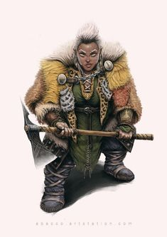 f Dwarf Barbarian Medium Armor Cloak Battle Axe female Traveler Thyna Turnblade by A Bacco lg Dungeons And Dragons Characters, Dnd Characters, Fantasy Characters, Female Characters, Fantasy Dwarf, Fantasy Rpg, Fantasy Races, Fantasy Warrior, Female Character Design
