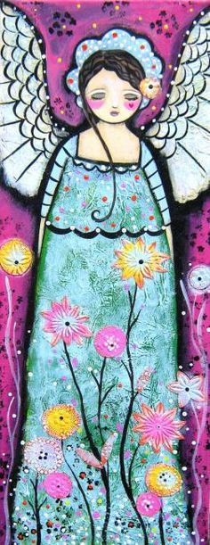 Painting ©2012 by Claire Barone -  Painting, Folk Art, folk art angel