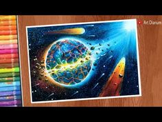 Oil Pastel Drawings, Step By Step Drawing, Destruction, Planets, Scene, Artwork, Work Of Art, Plants, Stage