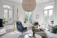 Amazing Modern Furniture Ceilings with Stucco Apartment in Sweden