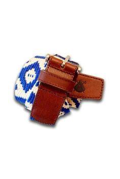 Nuevo cinturón azteca blanco y azul. Tallas de la 80 a la 105. PVP: 49 €. Hecho en Coria del Rio, Sevilla. Www.poloselcapote.com/complementos/505-cinturon-azteca.html