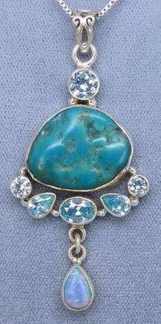 Arizona Turquoise, Blue Topaz and Australian Opal Necklace - Sterling Silver